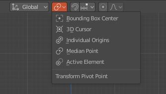 Menú puntos de pivote Blender 2.83